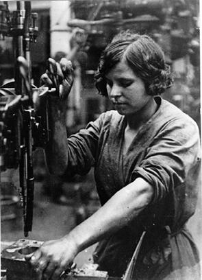 "Woman factory worker. From ""Stalinism as a Way of Life"" yale/edu"
