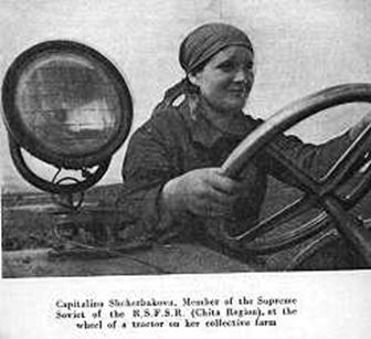 "woman driving tractor. From ""Women in the USSR"" 1936 by M. Pichugina."